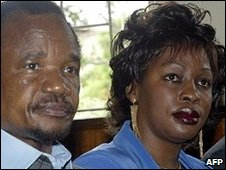 Frederick Chiluba (left) and his wife Regina in 2003