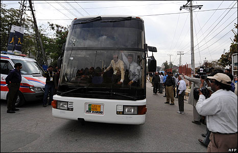 A bullet�ridden bus carrying the Sri Lankan cricket team outside the Gaddafi Stadium