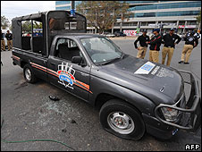 Police van after attack