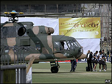 Helicopter preparing to airlift players