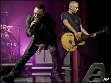 Bono and Adam Clayton of U2