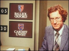 Bamber Gascoigne on University Challenge. Pic courtesy Granada