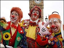 Clowns protest outside Parliament