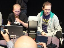 Gottfrid Svartholm Varg (C) and Peter Sunde, (R) from The Pirate Bay
