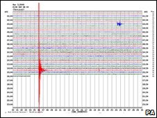 Seismograph showing the tremor that hit Folkestone in Kent at 1435 GMT