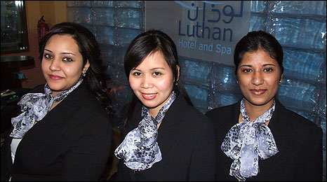 Staff at the Luthan Hotal - Shereen Badawi, 24, from Sudan, Lenie Casumpi, from the Philippines, 26, Juliet Samuel, from India, 25