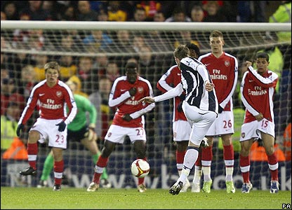West Brom equalise through Chris Brunt's free-kick