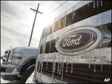 Icicles form on the grille of a Ford vehicle