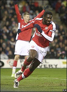 Arsenal captain Kolo Toure celebrates his goal