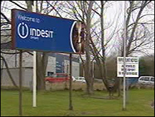 Indesit sign outside factory