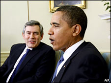 Gordon Brown and Barack Obama take questions form the media in the Oval Office of the White House, 3 March 2009