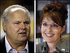 Radio host Rush Limbaugh (L) and Alaska Governor Sarah Palin
