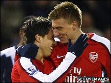 Samir Nasri and Nicklas Bendtner