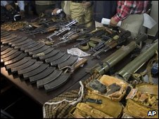 Weapons seized by police following an ambush of the Sri Lankan cricket team, in Lahore, Pakistan