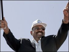 Sudanese President Omar al-Bashir at the opening ceremony of the Merowe High Dam, in northern Sudan on 3 March 2009
