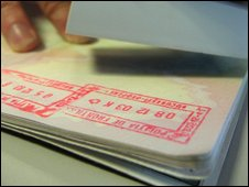 Passport being stamped