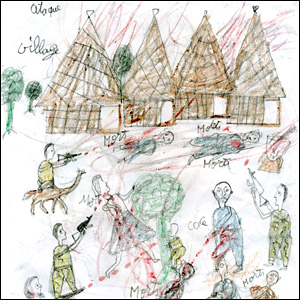 Darfur refugee child's drawing