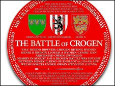The plaque commemorating the Battle of Crogen