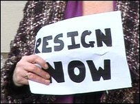 Protestors calling for the resignation of Doncaster's mayor