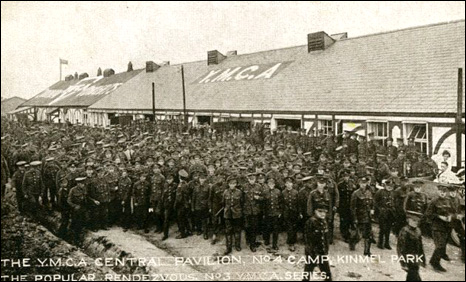 Postcard of soldiers in Kinmel Camp