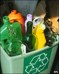 Empty bottles for recycling