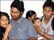 Sri Lankan cricketers Kumar Sangakkara and Tillakaratne Dilshan with their families