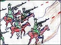 Dibujo de niños en Darfur mostrando hombres armados a caballo atacando sus hogares