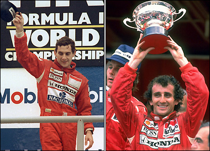 Ayrton Senna (left) and Alain Prost