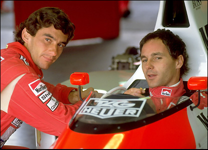 Ayrton Senna (left) and Gerhard Berger