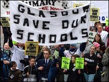School closure protest