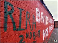 Graffiti featuring the Real IRA, a dissident republican grouping
