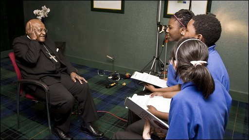 School Reporters from Djanogly City Academy in Nottingham interview Archbishop Desmond Tutu.