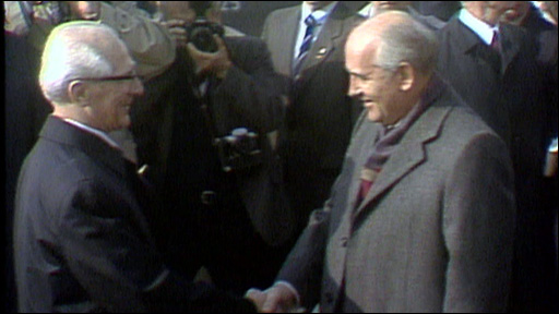 Erich Honecker greets Mikhail Gorbachev