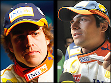 Fernando Alonso and Nelson Piquet Jnr