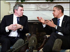 Gordon Brown and Barack Obama meet in the Oval Office of the White House, 3 March 2009