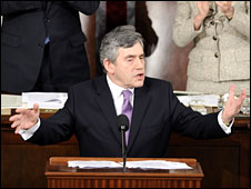 Gordon Brown addressing a joint session of the US Congress