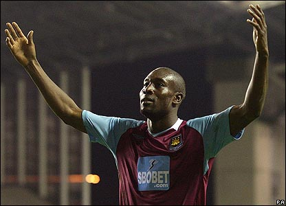 West Ham's Carlton Cole celebrates his goal
