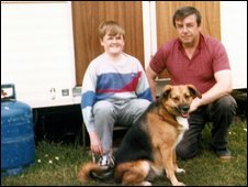 Charles Cullen, his son Andrew and their adopted dog Lassie
