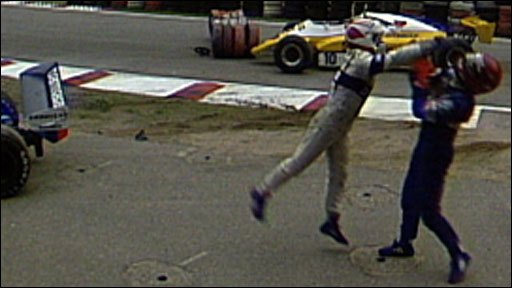 Nelson Piquet fights with Eliseo Salazar