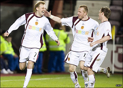 Motherwell midfielder Stephen Hughes celebrates his goal