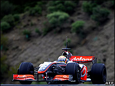 Lewis Hamilton in his McLaren at Jerez