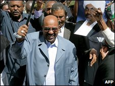 Sudan President Omar al-Bashir in Khartoum on 5 March 2009