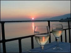 Sunnset and wine glasses