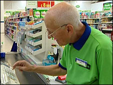 Elderly man working in Asda