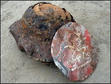Second World War helmets found at the Olympic Park site