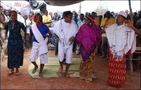 Borana tribesmen dancing