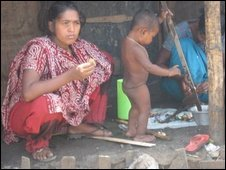 mother and child in Dhaka shanty town