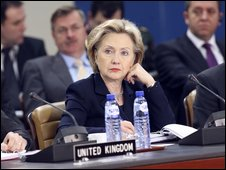 Mrs Clinton attends a NATO meeting 5 March
