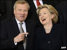 Nato Secretary-General Jaap de Hoop Scheffer and US Secretary of State Hillary Clinton