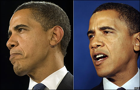 Pictures of Barack Obama (L) on 12 February 2009 and (R) 19 September 2008 showing his greying hair